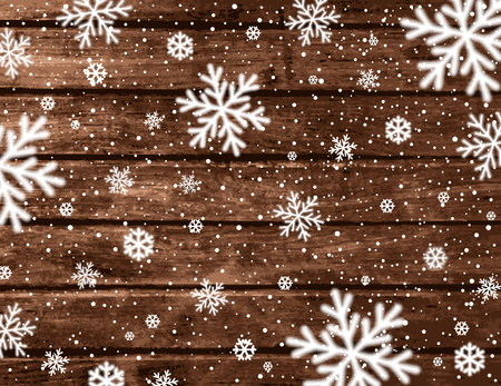 Wooden christmas background with blured snowflakes, vector illustration 版權商用圖片 - 108588508