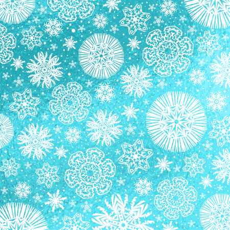 Blue glossy Christmas background with white snowflakes and stars,  vector illustration Illustration