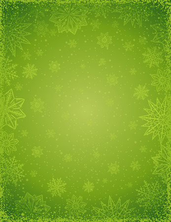 Green christmas background with  frame of snowflakes and stars,  vector  illustration