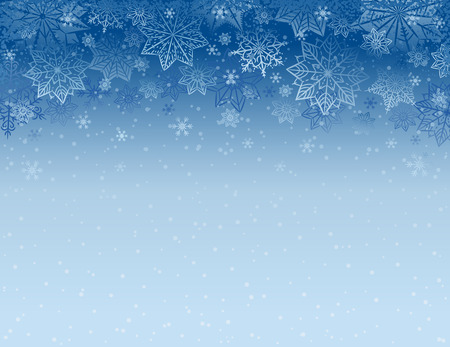 Blue christmas background with snowflakes and stars, vector illustration