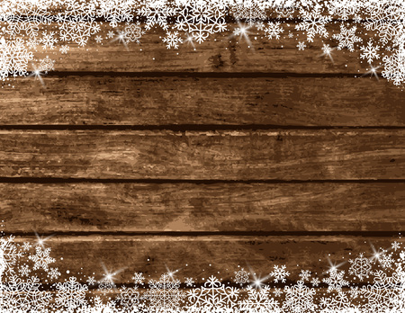 Wooden brown christmas background with white snowflakes, vector illustration