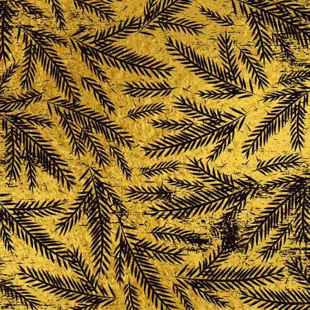 Fondo de Navidad dorado grunge con ramitas de aliso negro, ilustración vectorial