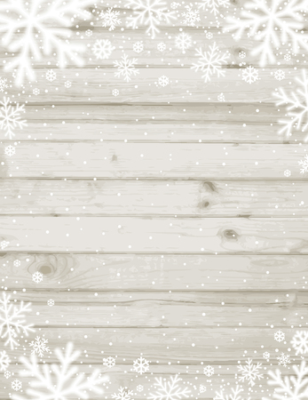 Wooden christmas background with blurred white snowflakes, vector  illustration Ilustrace