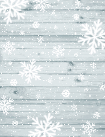 Wooden christmas background with blurred white snowflakes, vector  illustration 向量圖像