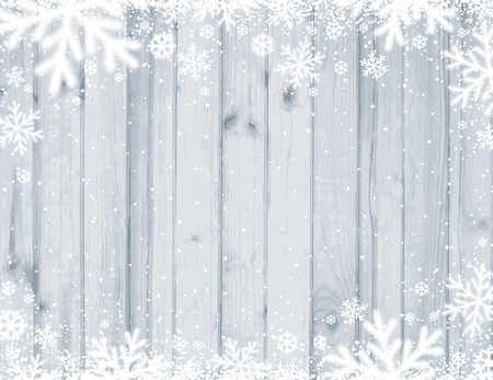 Grey Wooden christmas background with blurred white snowflakes, vector illustration