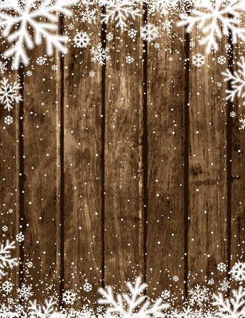 Brown Wooden christmas background with blurred white snowflakes, vector illustration