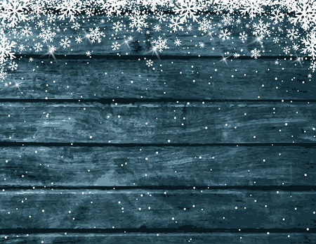 Wooden blue christmas background with white snowflakes, vector illustration