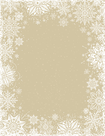 Beige christmas background with frame of white snowflakes and stars, vector illustration