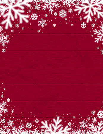 Red Wooden christmas background with blurred white snowflakes, vector illustration Иллюстрация