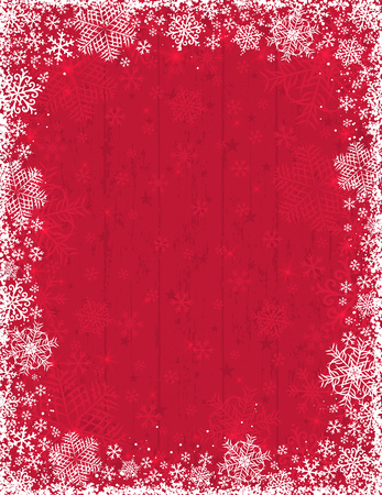 Wooden red christmas background with frame of white snowflakes, vector illustration