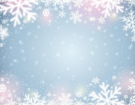 Fondo azul con copos de nieve borrosos blancos, ilustración vectorial