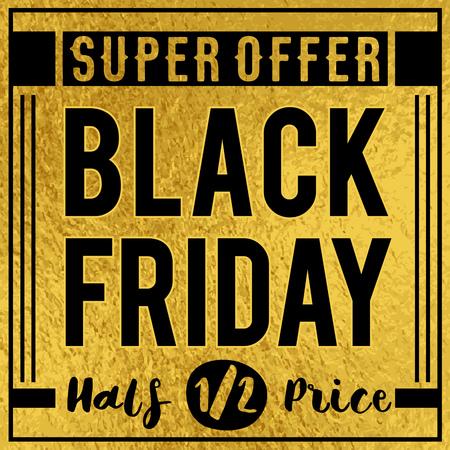Banner de venta de viernes negro sobre fondo de lujo dorado, ilustración vectorial