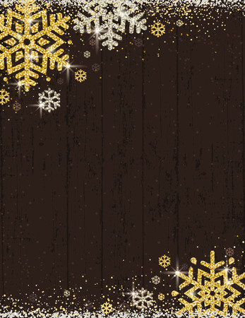 Brown christmas wooden background with frame of golden and silver glittering snowflakes, vector illustration