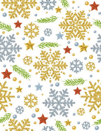 Christmas seamless pattern background with gold and silver glittering snowflakes, twig and stars,  vector illustration