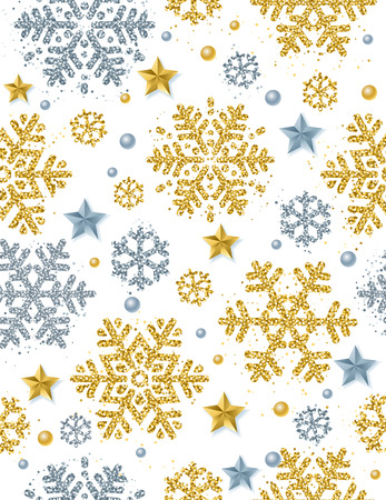 Christmas seamless pattern background with gold and silver glittering snowflakes and stars,  vector illustration