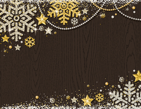 Brown christmas wooden background with frame of golden and silver glittering snowflakes, stars and garlands, vector illustration