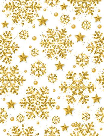 Fondo transparente de Navidad con copos de nieve brillantes de oro y estrellas, ilustración vectorial