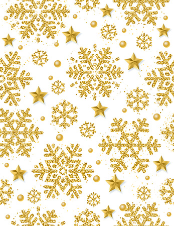 Kerst naadloze patroon achtergrond met gouden glinsterende sneeuwvlokken en sterren, vectorillustratie