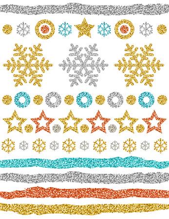 Adornos navideños, copos de nieve brillantes de oro, estrellas, pinceles, círculos, ilustración vectorial