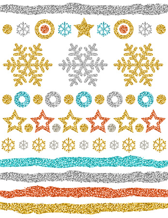 Christmas ornaments, gold glittering snowflakes, stars, brushes, circles,  vector illustration