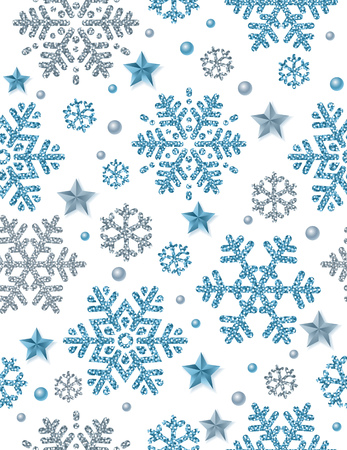 Christmas seamless pattern background with silver and blue glittering snowflakes and stars,  vector illustration Ilustração