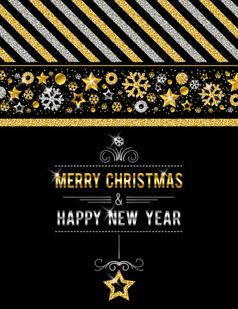 Black christmas card with golden and silver glittering snowflakes and stars, vector illustration Foto de archivo - 110896880