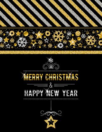Tarjeta de Navidad negra con copos de nieve y estrellas brillantes dorados y plateados, ilustración vectorial