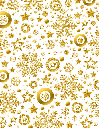White Christmas pattern background with golden glittering snowflakes and stars,  vector illustration