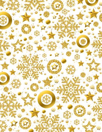 Witte kerst patroon achtergrond met gouden glinsterende sneeuwvlokken en sterren, vectorillustratie