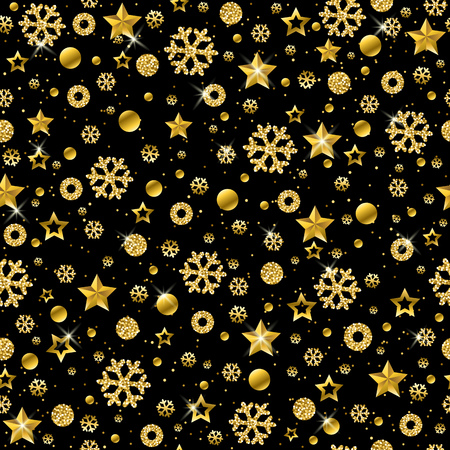 Black Christmas pattern background with golden glittering snowflakes and stars, vector illustration