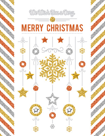 Christmas card with golden and silver glittering snowflakes and stars, vector illustration Ilustração