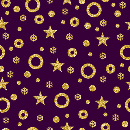 Purple Christmas pattern background with golden glittering snowflakes and stars, vector illustration Ilustração