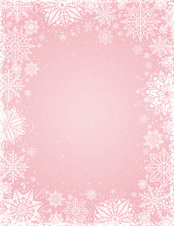Pink christmas background with frame of white snowflakes and stars, vector illustration
