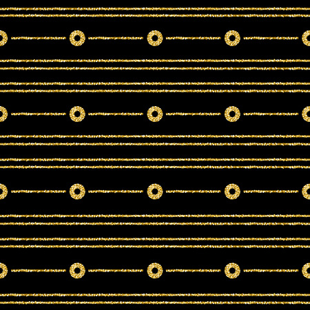 Black Christmas pattern background with golden glittering circles and lines, vector illustration
