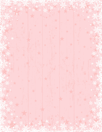Wooden pink christmas background with frame of white snowflakes, vector illustration Ilustrace