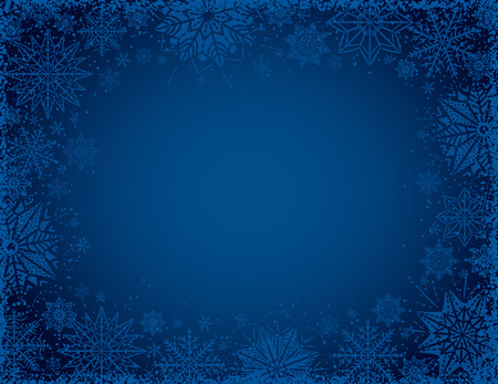 Blue christmas background with frame of snowflakes and stars, vector illustration Illustration