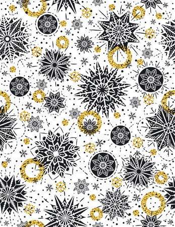Christmas pattern background with black stars, snowflakes and golden circles,  vector illustration Ilustração