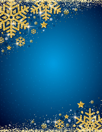Blue christmas background with frame of gold glittering snowflakes, vector illustration Illustration