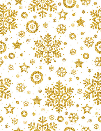 Christmas seamless pattern with golden glittering snowflakes and stars,  vector illustration