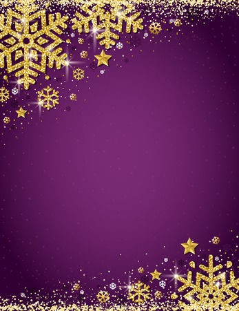 Purple christmas background with frame of gold glittering snowflakes, vector illustration
