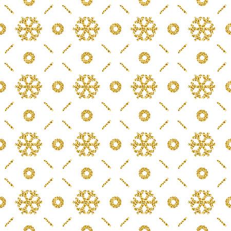 Fondo de Navidad con copos de nieve brillantes dorados, ilustración vectorial