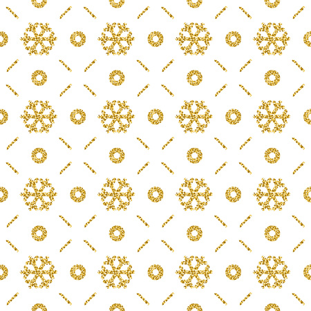 Christmas pattern background with golden glittering snowflakes, vector illustration
