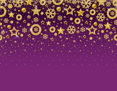 Purple christmas card with  frame of golden glittering snowflakes and stars, vector illustration