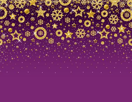 Tarjeta de Navidad púrpura con marco de copos de nieve brillantes dorados y estrellas, ilustración vectorial