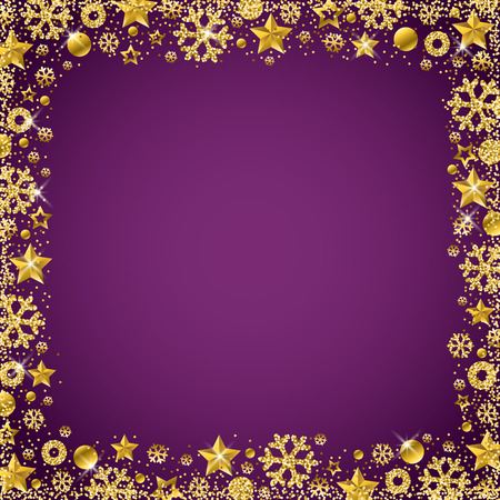 Purple christmas card with border of golden glittering snowflakes and stars, vector illustration