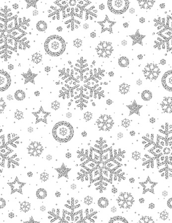 Christmas seamless pattern with silver glittering snowflakes and stars,  vector illustration