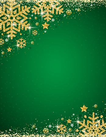 Green christmas background with frame of gold glittering snowflakes, vector illustration