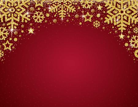 Tarjeta de Navidad roja con marco de copos de nieve brillantes dorados y estrellas, ilustración vectorial