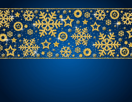 Blue christmas card with  frame of golden glittering snowflakes and stars, vector illustration