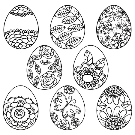 Vector set of easter eggs with floral pattern for coloring book. Hand-drawn decorative elements in vector. Black and white. Zentangle - Vector. Easter holidays design. Illustration